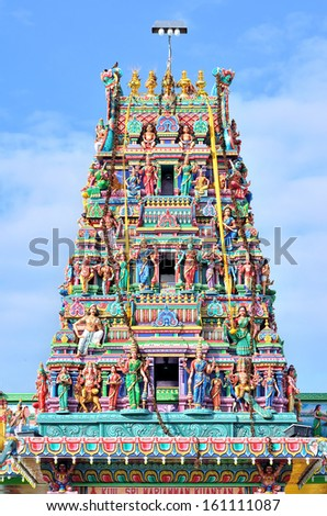 Sculptures on Hindu temple - stock photo