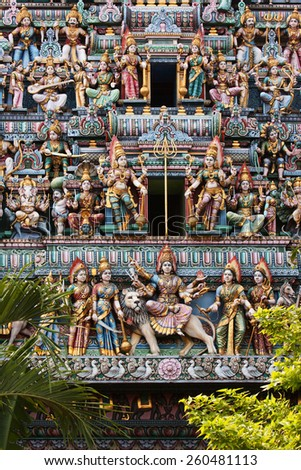 Sculptures on the hindu temple in  Singapore. - stock photo