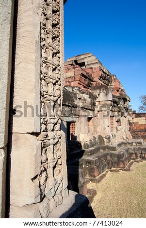 Sculture stone castle is located in Thailand. It is named Pa-nom-wan. - stock photo