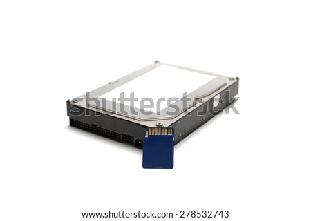 sd card and hard disk isolated on white background - stock photo