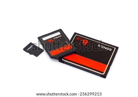 SD card ,CF Card ,Compact flash card and micro SD card isolate on white background - stock photo