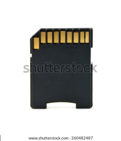 sd card, memory card back, isolated - stock photo