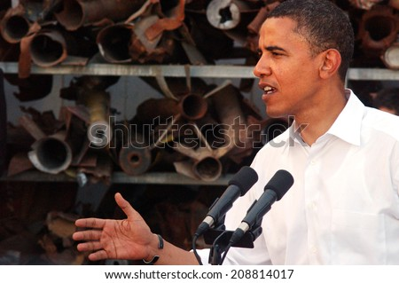SDEROT, ISR - JULY 23 2008:Barack Obama visit to Sderot, Israel.Obama is recognizing hamas terror group as a legitimate palestinian governing partner. - stock photo