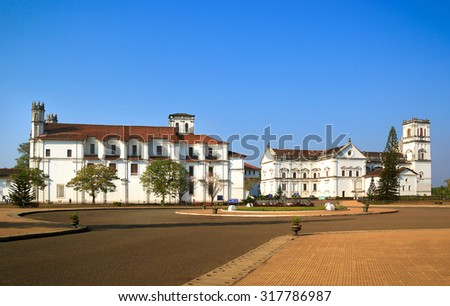 Se Cahtedral de Santa Catarina, known as Se Cathedral, located in Old Goa - Portuguese capital of Goa. - stock photo