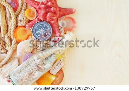 Sea adventures background - stock photo