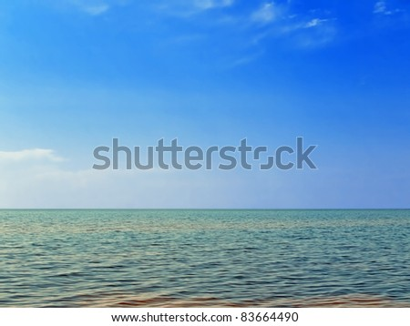 sea and blue sky - stock photo