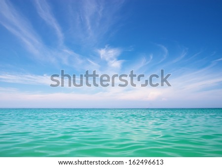 Sea and blue sky. Nature composition  - stock photo
