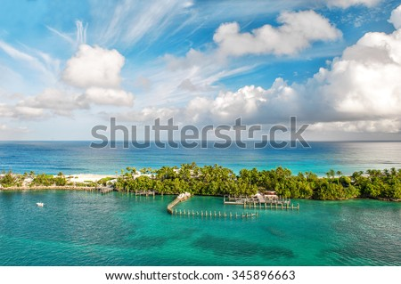 Sea and cloudy sky. Beautiful landscape Bahamas. Nassau - stock photo