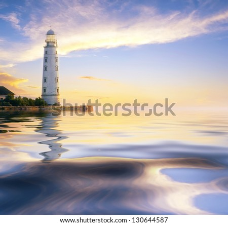 sea and lighthouse - stock photo