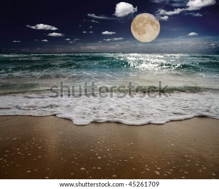 sea and moon. focus on wave - stock photo