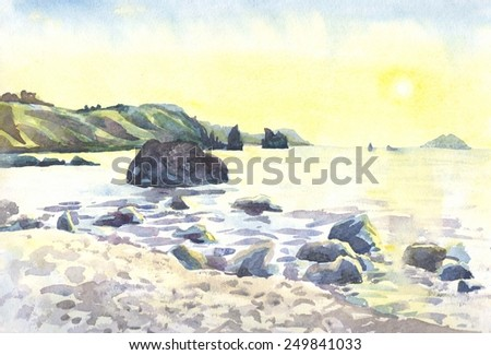 Sea and rocks. The scenery. Island. A sunset. Watercolor. Painting - stock photo