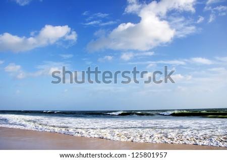 Sea and sky on Manta Beach,Algarve, Portugal - stock photo