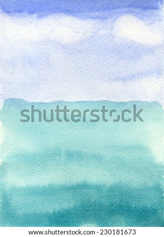sea and sky,  watercolor background - stock photo