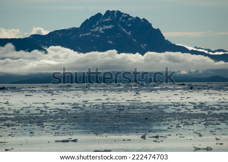 Sea and snow capped mountains near Valdez Arm, Alaska  - stock photo