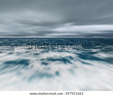 Sea and storm, natural seascape with clouds and sea surface. - stock photo