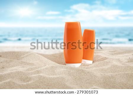 sea and suntan oil  - stock photo