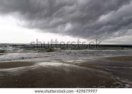 Sea and thundercloud background - stock photo