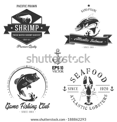 Sea animals badge collection | Bitmap - stock photo