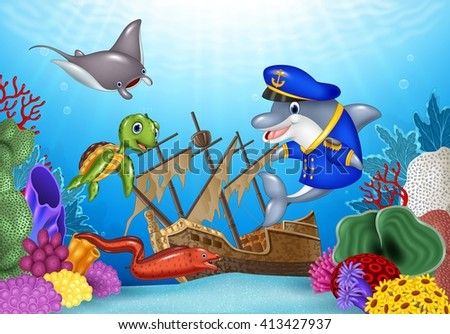 Sea animals with Shipwreck on the ocean - stock photo