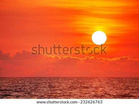 Sea at sunset at Phu Quoc island  in Vietnam - stock photo