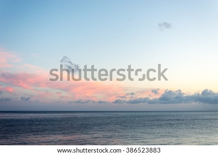 Sea at sunset in front of Recco and Camogli - stock photo