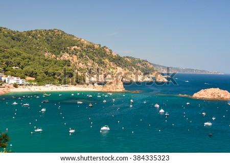 Sea bay with yacht port - stock photo