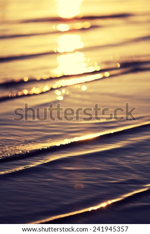 sea beach at sunset in summer - stock photo