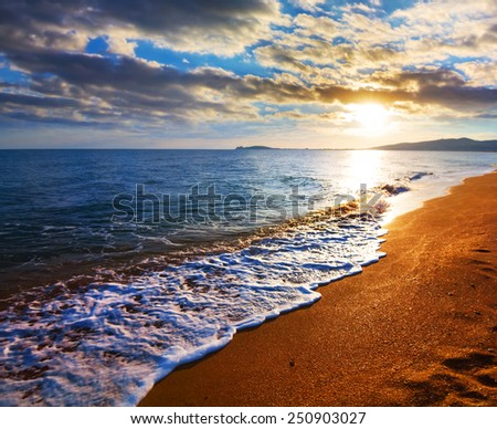 sea beach at the early morning - stock photo