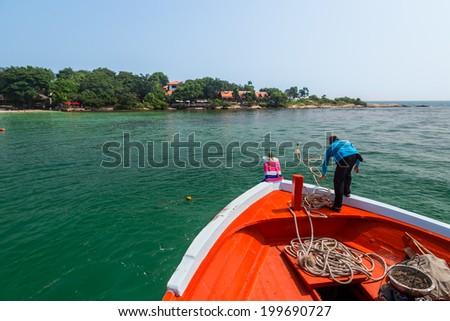 Sea Beach Boat Island Fisherman At Samet Island Rayong, Thailand. - stock photo