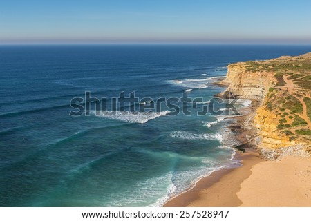 Sea beach in Ericeira for surfers. Portugal autumn. - stock photo