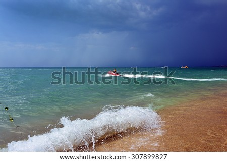 sea before a thunderstorm - stock photo