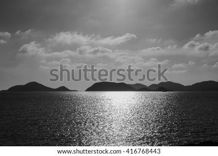 Sea black and white - stock photo