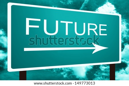 Sea blue future direction road street sign and the sky - stock photo
