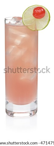 Sea Breeze Cocktail - isolated on white - stock photo