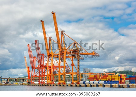 Sea cargo port and container terminal of Gdynia, Baltic, Poland - stock photo