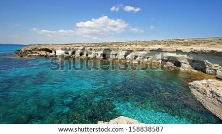 Sea Caves, Cape Greko, Agia Napa, Cyprus, Europe - stock photo