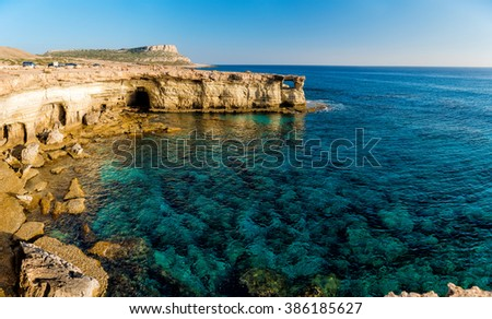 Sea caves panorama (Ayia Napa, Cyprus) - stock photo