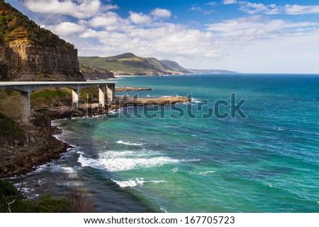 Sea Cliff Bridge along the Grand Pacific Drive, New South Wales, Australia - stock photo