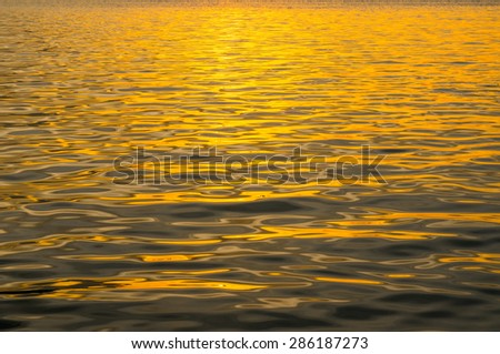 Sea golden color,  The atmosphere during sunset  - stock photo