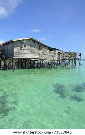 Sea gypsies houses on stilts at Semporna, Sabah, Malaysia - stock photo