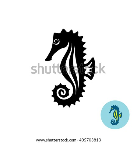 Sea horse elegance black silhouette logo with color version - stock photo
