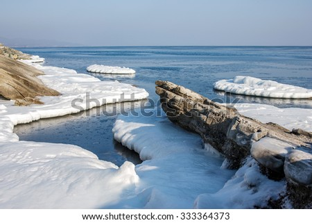 Sea ice, blocks of ice on the sea, the winter sea and the ocean, Arctic, aquatic nature, the ice floe in the ocean, melting ice, spring in the North sea, the Arctic in the spring. - stock photo
