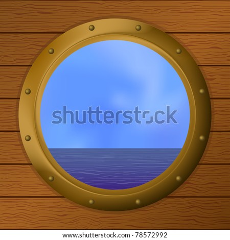 sea in a bronze ship window - porthole in a wooden wall - stock photo