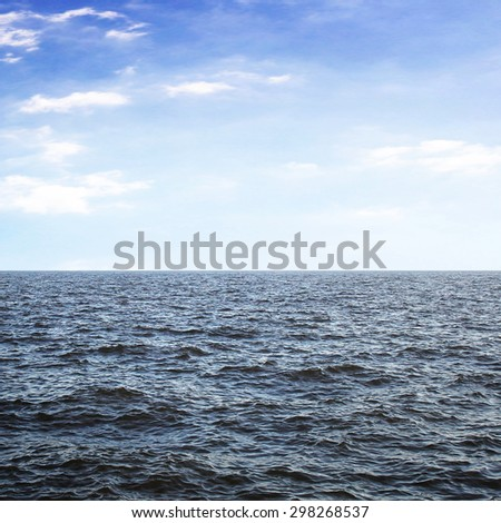 Sea in sunny evening - stock photo