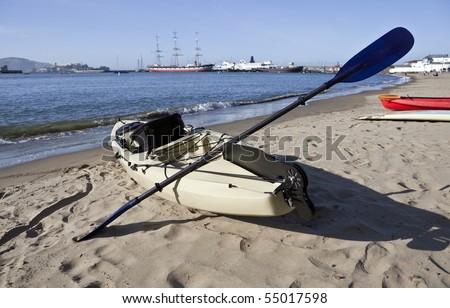 Sea Kayaks at San Francisco's National Maritime Historic Park. - stock photo