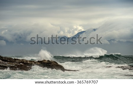 Sea landscape. An morning, Clouds sky and mountains. False bay. South Africa. - stock photo