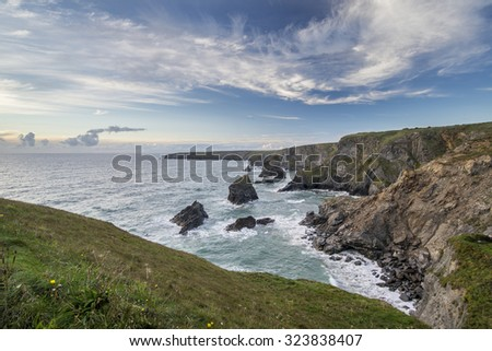 Sea landscape of Bedruthan Steps on Cornwall coastline in England - stock photo