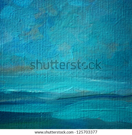 sea landscape oil on a canvas,  illustration, painting - stock photo