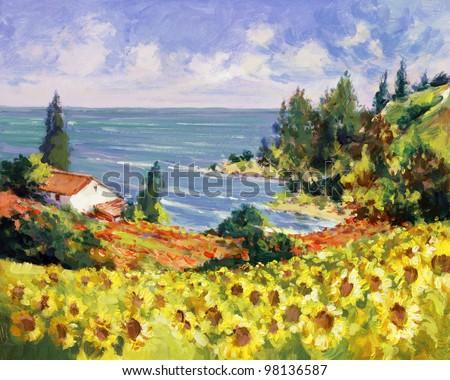 sea landscape painting - acrylic paints on hardboard - stock photo