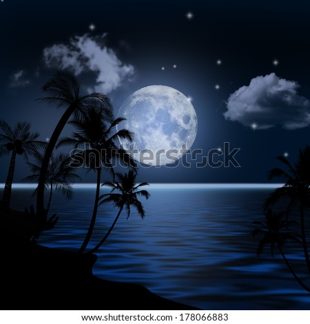 Sea landscape with the moon and palm trees. - stock photo